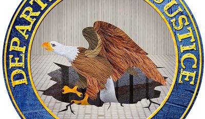Big Hole at the Justice Department Illustration by Greg Groesch/The Washington Times