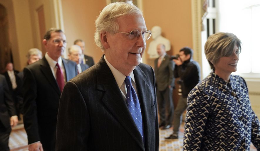 Senate Majority Leader Mitch McConnell of Ky., center, walks out to speak to media after a meeting in his office at the Capitol in Washington, Wednesday, Nov. 14, 2018. Walking with McConnell are Sen. John Barrasso, R-Wyo., left, and Sen. Joni Ernst, R-Iowa, right. (AP Photo/Pablo Martinez Monsivais) ** FILE **