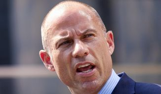 FILE - In this July 27, 2018, file photo Michael Avenatti, talks to the media during a news conference in front of the U.S. Federal Courthouse in Los Angeles. Avenatti is in police custody in Los Angeles following domestic violence allegation. (AP Photo/Richard Vogel, File)
