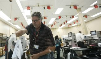 A worker loads ballots into machines at the Broward County Supervisor of Elections office during a recount on Tuesday, Nov. 13, 2018, in Lauderhill, Fla. (AP Photo/Brynn Anderson)