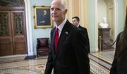 Florida Gov. Rick Scott, the Republican candidate in the undecided race for Senate from Florida running against incumbent Sen. Bill Nelson, D-Fla., arrives for a meeting with Majority Leader Mitch McConnell, R-Ky., and new GOP senators at the Capitol in Washington, Wednesday, Nov. 14, 2018. (AP Photo/J. Scott Applewhite)