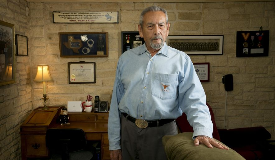 Leonard Flores, the first Latino detective in the Austin Police Department, at his home in Austin on Thursday, June 21, 2018. (Jay Janner/Austin American-Statesman via AP)