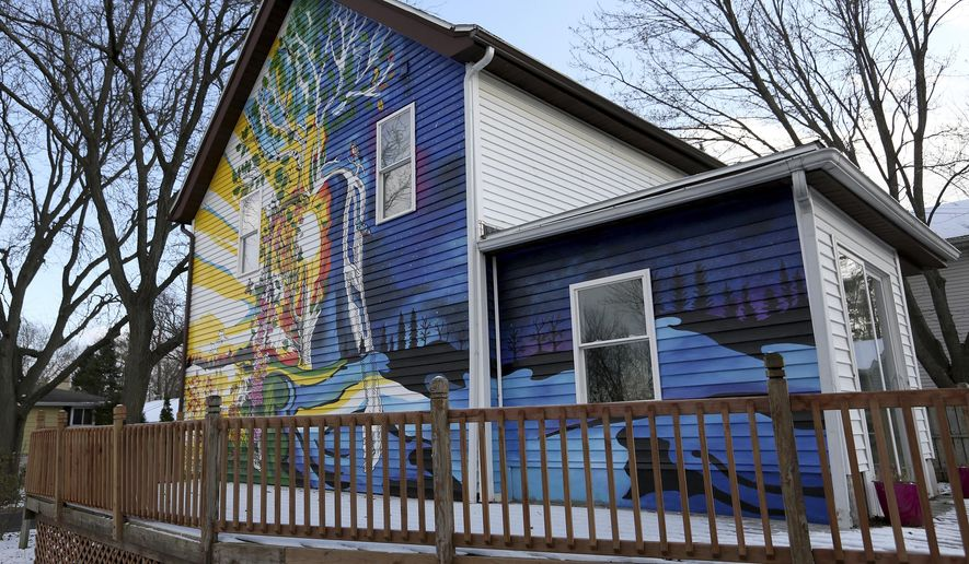 Mural by Jenie Gao, muralist, at Mary Burke's house in Madison, on Friday, Nov. 9, 2018.  (Michelle Stocker /The Capital Times via AP)