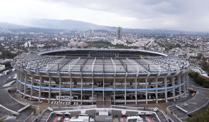Mexico's Azteca Stadium is seen from above, in Mexico City, Tuesday, Nov. 13, 2018. The NFL has moved the Los Angeles Rams' Monday night showdown with the Kansas City Chiefs from Mexico City to Los Angeles due to the poor condition of the field at Azteca Stadium. (AP Photo/Christian Palma)