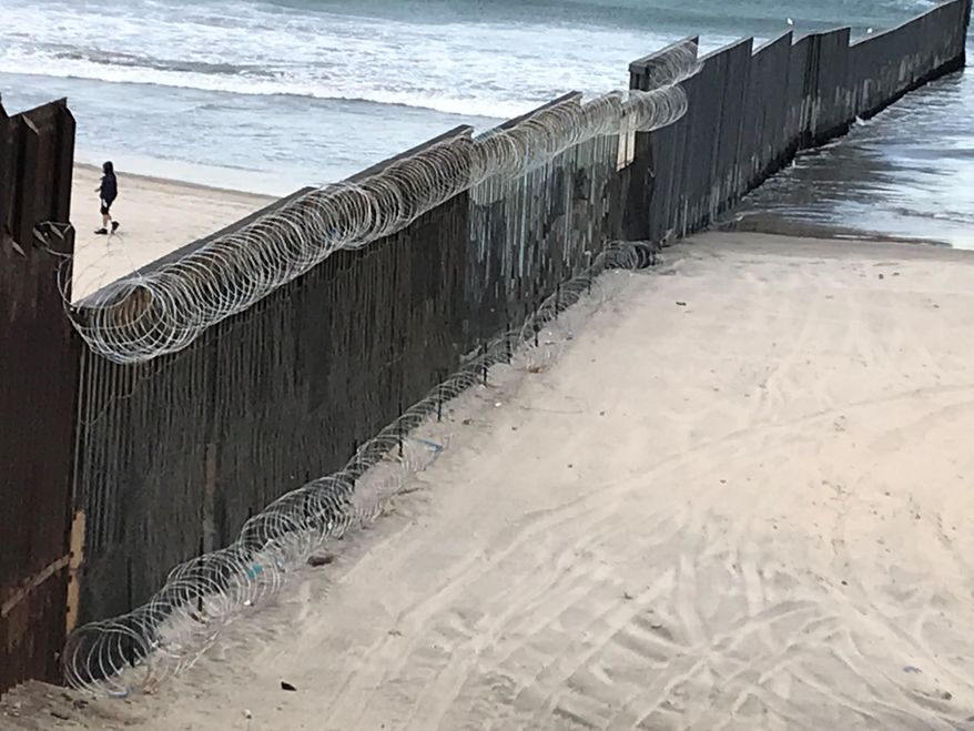 Razor wire deployed along the border. (Photo credit: Department of Homeland Security)