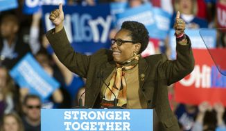Rep. Marcia Fudge, D-Ohio, reacts to a cheering crowd as she speaks at a campaign rally for Democratic presidential candidate Hillary Clinton at Cleveland Public Hall in Cleveland, Sunday, Nov. 6, 2016. (AP Photo/Phil Long)