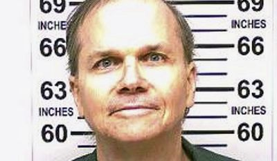 This Jan. 31, 2018 photo, provided by the New York State Department of Corrections, shows Mark David Chapman, the man who killed John Lennon. Chapman, 63, who is serving 20-years-to-life in the Wende Correctional Facility in western New York, is scheduled to go before New York's parole board the week of Aug. 20, 2018, in what will be his 10th attempt to win release. The decision by the board of parole is supposed to be within two weeks of the hearing. (New York State Department of Corrections via AP)