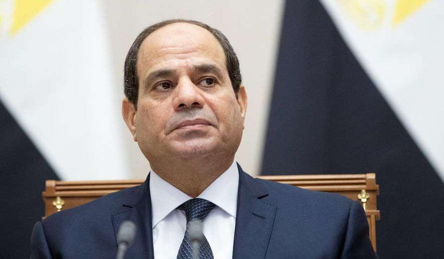Egyptian President Abdel-Fattah el-Sissi attends a signing ceremony following his talks with Russian President Vladimir Putin in Sochi, Russia, Wednesday, Oct. 17, 2018. Putin and Egyptian President Abdel-Fattah el-Sissi signed a strategic cooperation treaty Wednesday that is intended to bolster trade and other ties between the two nations. (AP Photo/Pavel Golovkin, Pool)