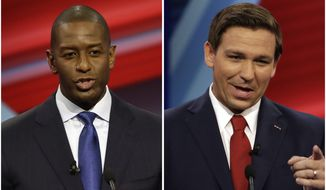 FILE - In this combination of Oct. 21, 2018 file photos Florida Democratic gubernatorial candidate Andrew Gillum, left, and Florida Republican gubernatorial candidate Ron DeSantis speak during a CNN debate in Tampa, Fla. Races for governor, legislative seats and other state-level offices have attracted more than $2 billion in campaign contributions this year. That nearly matches contributions to congressional elections, the highest profile political events this year. The top states this year for reported contributions to candidates are, in order, Illinois, California, Texas, Florida, New York, Georgia and Pennsylvania.  Polls have consistently shown a tight race in Florida between DeSantis, a loyalist to President Donald Trump, and Tallahassee Mayor Gillum. (AP Photo/Chris O'Meara, Files)