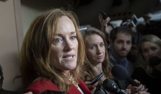 Rep. Kathleen Rice, D-N.Y., talks to reporters about her opposition to House Minority Leader Nancy Pelosi, D-Calif., becoming the speaker of the House when the Democrats take the majority in the 116th Congress, in the basement of the Capitol in Washington, Thursday, Nov. 15, 2018. A group of 17 Democrats led by Rep. Rice, Rep. Seth Moulton D-Mass., and others, have pledged to vote against Pelosi's return as the first female speaker of the House. (AP Photo/J. Scott Applewhite)