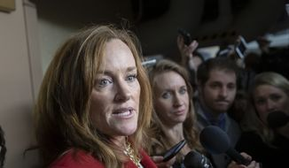Rep. Kathleen Rice, D-N.Y., talks to reporters about her opposition to House Minority Leader Nancy Pelosi, D-Calif., becoming the speaker of the House when the Democrats take the majority in the 116th Congress, in the basement of the Capitol in Washington, Thursday, Nov. 15, 2018. (AP Photo/J. Scott Applewhite) **FILE**