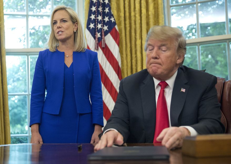 FILE - In this June 20, 2018, file photo, President Donald Trump, right, listens as Homeland Security Secretary Kirstjen Nielsen, left, addresses members of the media before Trump signs an executive order to end family separations at the border, during an event in the Oval Office of the White House in Washington. Trump and Nielsen never did quite click personally as the president chafed at her explanations of complicated immigration issues and her inability to bring about massive changes at the U.S.-Mexico border With Nielsens departure now considered inevitable, her eventual replacement will find theres no getting around the immigration laws and court challenges that have thwarted the presidents hardline agenda. (AP Photo/Pablo Martinez Monsivais, File)