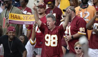 Washington Redskins fans against the Tampa Bay Buccaneers during the second half of an NFL football game Sunday, Nov. 11, 2018, in Tampa, Fla. (AP Photo/Jason Behnken) ** FILE **