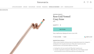 Screen capture from the website for Tiffany & Co. showing a sterling silver drinking straw for sale. The iconic New York jeweler is just one of many retailers seeking to cash in on eco-conscious consumers who want durable alternatives to single-use plastic straws. [https://www.tiffany.com/accessories/games-novelties/everyday-objects-rose-gold-vermeil-crazy-straw-60559023?trackpdp=pr]