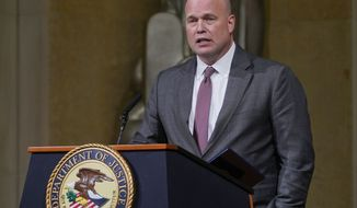 Acting Attorney General Matthew G. Whitaker speaking at the Dept. of Justice's Annual Veterans Appreciation Day Ceremony, Thursday, Nov. 15, 2018, at the Justice Department in Washington. (AP Photo/Pablo Martinez Monsivais)