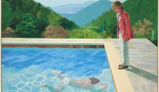"""In this undated photo provided by Christie's Images LTD, a 1972 painting entitled """"Portrait of an Artist (Pool with Two Figures),"""" by British artist David Hockney is shown. The painting, considered one of Hockney's premier works, was sold at auction by Christie's in New York for $90.3 million. (David Hockney/Courtesy of Christie's Images LTD via AP)"""