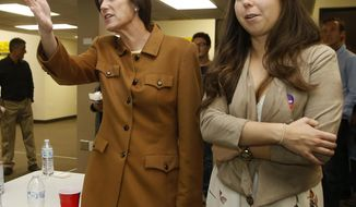 U.S. Rep. Mimi Walters, R-Calif., left, watches results from other races with her daughter, Caroline Walters, in Irvine, Calif., Tuesday, Nov. 6, 2018. Walters faces Democratic candidate Katie Porter in the race for the California 45th district. (AP Photo/Alex Gallardo)