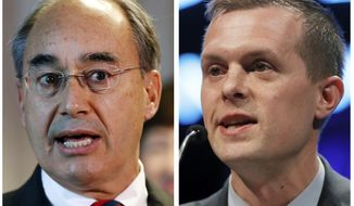 FILE - This combination of file photos show U.S. Rep. Bruce Poliquin in 2017, left, and state Rep. Jared Golden in 2018, right, in Maine. Golden challenged Poliquin for the 2nd District Congressional seat in the November 2018 general election. Golden, who finished behind Republican U.S. Rep. Poliquin in the first round of balloting in Maine's new voting system, came from behind to flip the U.S. House seat representing one of two congressional districts in the state, election officials said Thursday, Nov 15, 2018. (AP Photos/Robert F. Bukaty, File)