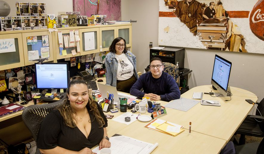 In this Oct. 4, 2018 photo, from left, De Colores Collective co-founders Eva Arreguin, Patricia Arreguin and Rafael Tamayo pose for a photograph at Oak Cliff Cultural Center in Dallas. The trio have been giving Latino artists and members of the LGBTQ community an opportunity to put on art shows and music events. They also produce a podcast. (Carly Geraci/The Dallas Morning News via AP)