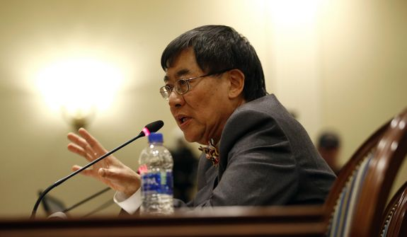University of Maryland President Wallace Loh speaks at a House of Delegates appropriations committee hearing, Thursday, Nov. 15, 2018, in Annapolis, Md. The hearing was called to examine how the university and the University System of Maryland's Board of Regents responded to the death of football player Jordan McNair. (AP Photo/Patrick Semansky)