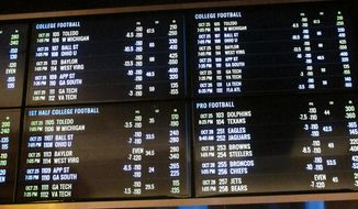 This Oct 25, 2018 photo shows the odds board at the sports book at the Tropicana casino in Atlantic City N.J. Gamblers bet $260 million on sports in New Jersey in October, bringing the total to nearly $600 million since mid-June. (AP Photo/Wayne Parry) ** FILE **