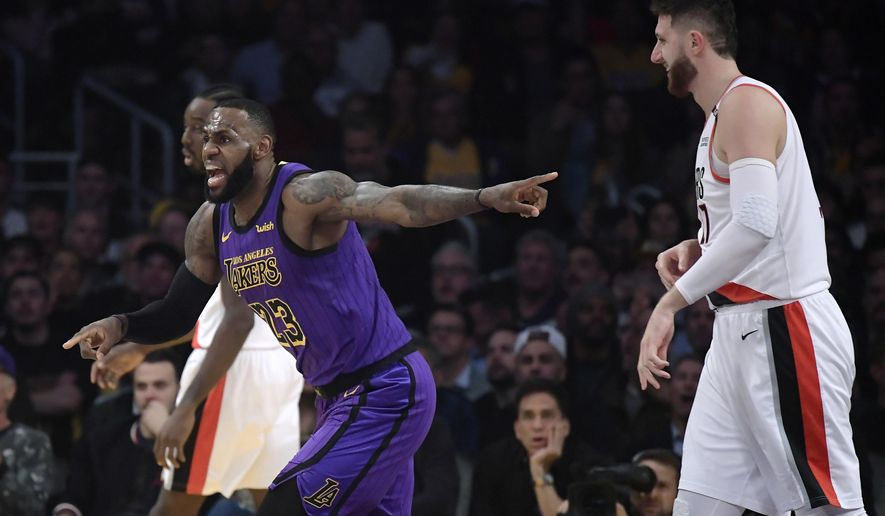 Los Angeles Lakers forward LeBron James, left, reacts to an inadvertent whistle by a referee as Portland Trail Blazers center Jusuf Nurkic watches during the first half of an NBA basketball game Wednesday, Nov. 14, 2018, in Los Angeles. (AP Photo/Mark J. Terrill)