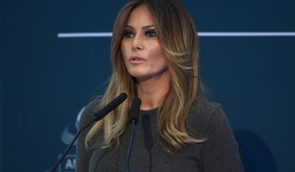 First lady Melania Trump speaks at the Family Online Safety Institute annual conference in Washington, Thursday, Nov. 15, 2018. (AP Photo/Susan Walsh)