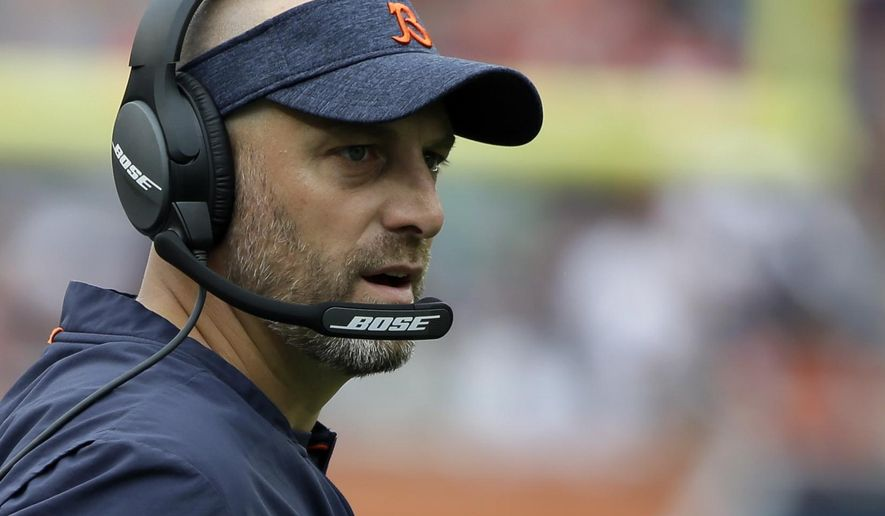 FILE - In this Aug. 25, 2018, file photo, Chicago Bears head coach Matt Nagy watches during the first half of a preseason NFL football game against the Kansas City Chiefs, in Chicago. The Bears have a chance to tighten their grip on the NFC North lead and show just how far they have come when they host the defending division champion Minnesota Vikings on Sunday, Nov. 18. (AP Photo/Annie Rice, File)