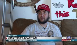 "Jonathan Sparks says he was viciously attacked and his ""Make American Great Again"" snatched while he was demonstrating in support of President Trump in downtown Tucson over the weekend. (KVOA"