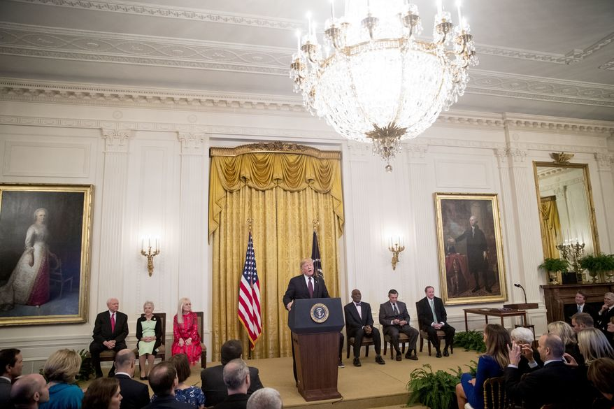 President Donald Trump speaks during a Medal of Freedom ceremony in the East Room of the White House in Washington, Friday, Nov. 16, 2018. (AP Photo/Andrew Harnik)
