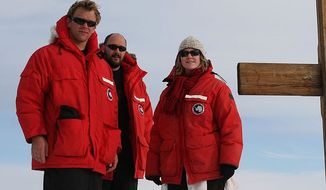 Canada Goose parkas worn by United States Antarctic Program members at Observation Hill, Antarctica. (Wikipedia/Gaelen Marsden)