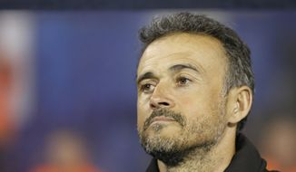 Spain coach Luis Enrique watches his players during the UEFA Nations League soccer match between Croatia and Spain at the Maksimir stadium in Zagreb, Croatia, Thursday, Nov. 15, 2018. (AP Photo/Darko Bandic)