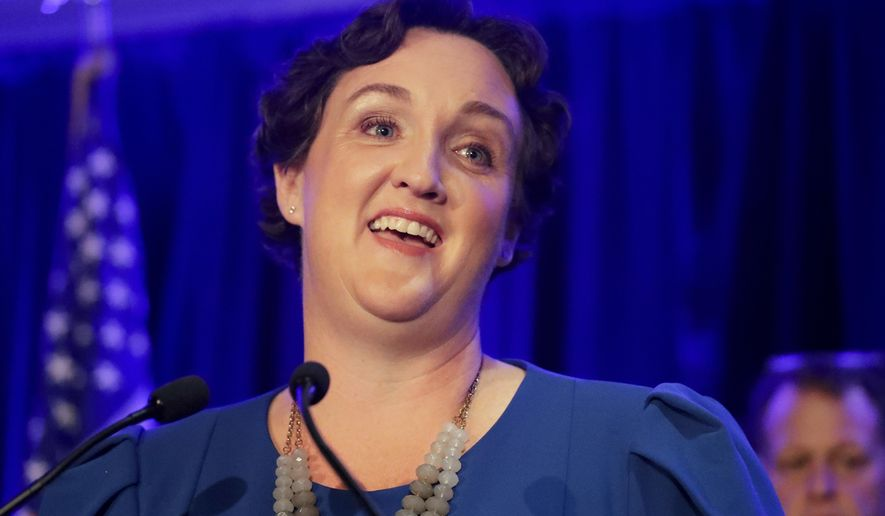 In this Tuesday, Nov. 6, 2018, file photo, then-Democratic congressional candidate Katie Porter speaks during an election night event in Tustin, Calif. (AP Photo/Chris Carlson, File)