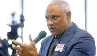 HFS-Mike Espy who is seeking to unseat appointed U.S. Sen. Cindy Hyde-Smith, R-Miss., and serve the last two years of the six-year term vacated when Republican Thad Cochran retired for health reasons, speaks about his experience in government as a congressman and agriculture secretary in the Clinton administration, before college students at a town hall meeting at Millsaps College in Jackson, Miss., Thursday, Nov. 15, 2018. (AP Photo/Rogelio V. Solis)