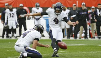 FILE - In this Oct. 7, 2018, file photo, Baltimore Ravens' Justin Tucker kicks a 44-yard field goal during the first half of the team's NFL football game against the Cleveland Browns in Cleveland. Tucker, the most accurate kicker in league history at 90.1 percent, received 92 points in a 10-points-to-one-point system with six of 10 first-place votes from a panel of Associated Press football writers. (AP Photo/Ron Schwane, File)