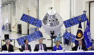European Space Agency director general, Jan Worner, far right, answers questions during a panel discussion with U.S. and European leaders, from left, Bill Hill, NASA deputy associate administrator for exploration systems, Philippe Berthe, ESA program manager, Mark Kirasich, NASA Orion program manager, and Sue Motil, Orion European Service Module integration manager at the Kennedy Space Center Friday, Nov. 16, 2018, in Cape Canaveral, Fla., to mark the arrival of a service module, that will propel NASA's Orion capsule to the moon. Behind them is a model of the Orion capsule and the service module. (AP Photo/John Raoux)