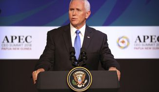 U.S. Vice President Mike Pence speaks at the APEC CEO Summit at the Pacific Explorer cruise ship docked in Port Moresby, Papua New Guinea, Saturday, Nov. 17, 2018. (AP Photo/Mark Schiefelbein)