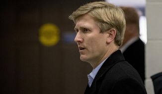 Vice President Mike Pence's Chief of Staff Nick Ayers, center, arrives for a news conference with President Donald Trump and Republican congressmen after participating in a Congressional Republican Leadership Retreat at Camp David, Md., Saturday, Jan. 6, 2018. A seasoned campaign veteran at age 36, Ayers is emerging as a leading contender to replace White House chief of staff John Kelly, whose departure has long been the subject of speculation.(AP Photo/Andrew Harnik)