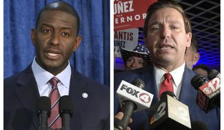 This combination of November 2018 photo shows Andrew Gillum, left, the Democratic candidate for governor, and  Republican candidate Ron DeSantis. On Saturday, Nov. 17, 2018, Gillum ended his hard-fought campaign, just hours before counties must turn in their official results following days of recounting ballots. (AP Photo/Steve Cannon, Phelan M. Ebenhack)