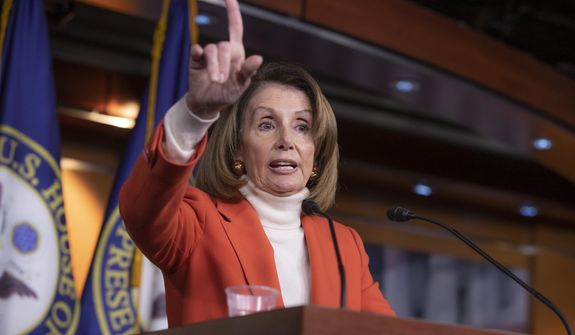 House Minority Leader Nancy Pelosi, D-Calif., talks to reporters during a news conference at the Capitol in Washington, Thursday, Nov. 15, 2018.  (AP Photo/J. Scott Applewhite)
