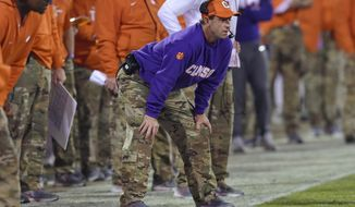 Clemson coach Dabo Swinney watches during the first half of the team's NCAA college football game against Duke on Saturday, Nov. 17, 2018, in Clemson, S.C. (AP Photo/Richard Shiro)