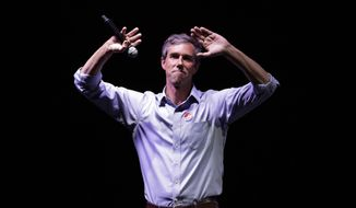 FILE - In this Nov. 6, 2018, file photo, Rep. Beto O'Rourke, makes his concession speech at his election night party in El Paso, Texas, after being defeated by Sen. Ted Cruz, R-Texas. One of the largest outside Democratic groups says ramped up spending on digital advertising played a key role in midterm battleground races, offering a lesson for potential presidential contenders in 2020.(AP Photo/Eric Gay, File)