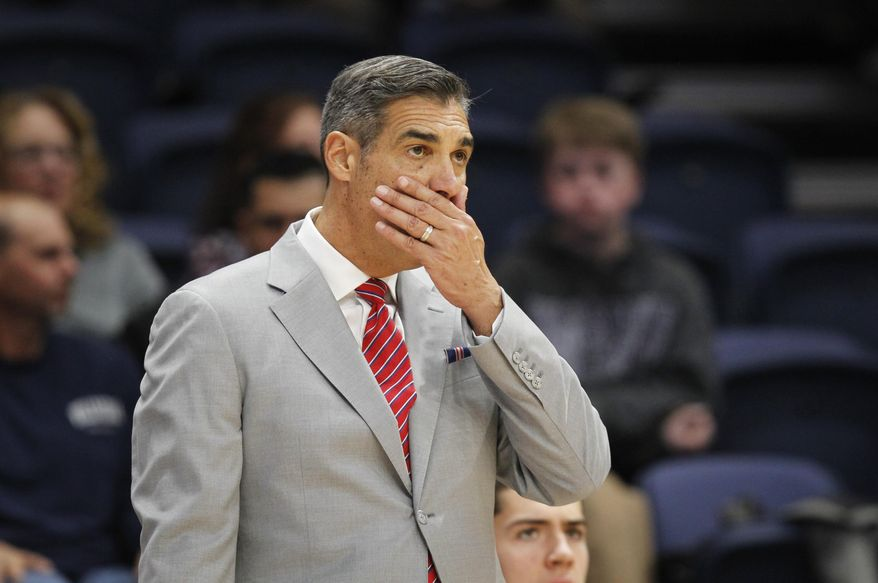 Villanova head coach Jay Wright reacts during the second half of an NCAA college basketball game against Furman, Saturday, Nov. 17, 2018, in Villanova, Pa. Furman won 76-68 in overtime. (AP Photo/Laurence Kesterson)
