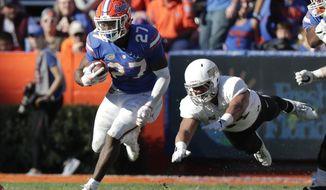 Florida running back Dameon Pierce (27) runs past Idaho defensive lineman Ben Taliulu for yardage during the second half of an NCAA college football game, Saturday, Nov. 17, 2018, in Gainesville, Fla. (AP Photo/John Raoux)