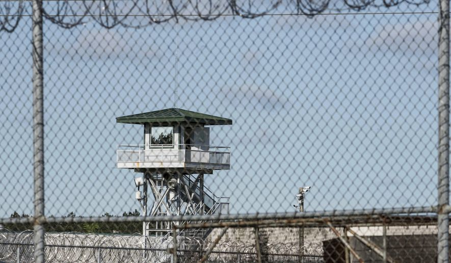 In this April 16, 2018, file photo, a guard tower stands above the Lee Correctional Institution, a maximum security prison in Bishopville, S.C. (AP Photo/Sean Rayford, File) **FILE**