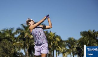 Lexi Thompson tees off during the second round of the CME Group Tour Championship golf tournament, Friday, Nov. 16, 2018, in Naples, Fla. (Andrew West/The News-Press via AP)