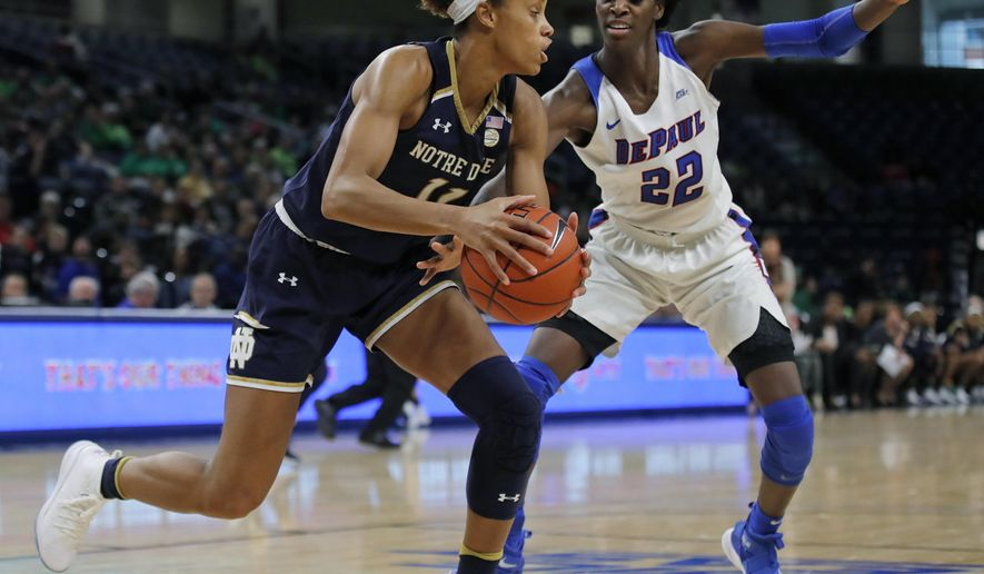 Notre Dame's Brianna Turner, left, is guarded by DePaul's Chante Stonewall during the second half of an NCAA college basketball game Saturday, Nov. 17, 2018, in Chicago. (AP Photo/Jim Young)
