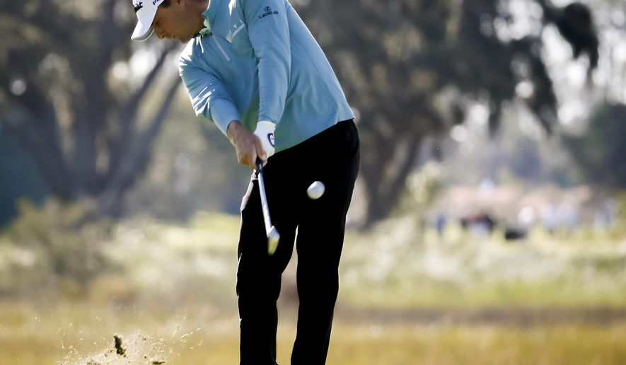 Charles Howell III hits off the third tee during the third round of the RSM Classic golf tournament on Saturday, Nov. 17, 2018, in St. Simons Island, Ga. (AP Photo/Stephen B. Morton)