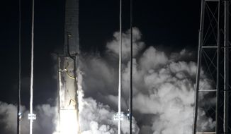 Northrop Grumman Antares rocket lifts off from the launch pad at NASA's Wallops Flight Facility in Wallops Island, Va., Saturday, Nov. 17, 2018. The rocket will deliver supplies to the International Space Station. (AP Photo/Steve Helber)