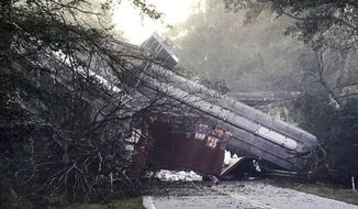 "This photo provided by Montezuma police shows a train derailment on Saturday, Nov. 17, 2018 in Byromville, Ga.  CSX Railroad said the cars derailed around 7 a.m. Saturday in Byromville, roughly 55 miles south of Macon.The exact number of cars involved is unclear. CSX says ""several"" cars derailed. The town's fire chief, Brett Walls, tells WMAZ-TV that between 15 and 30 cars fell from a bridge onto Georgia Highway 90.    (Montezuma police via AP)"